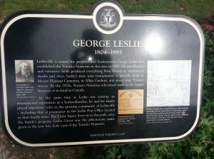 Heritage Toronto George Leslie Plaque Closeup