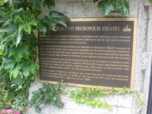 Toronto Necropolis Chapel plaque