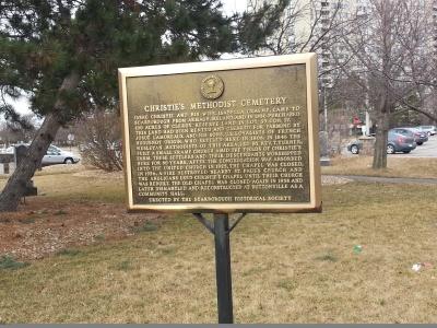 Christie's Methodist Cemetery plaque